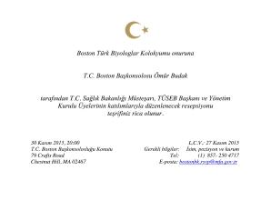 T.C. Boston Başkonsolosluğu Davetiye - BTBC Onuruna Düzenlenen Resepsiyon